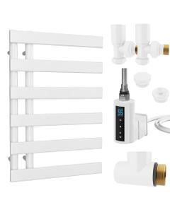 Agar - White Dual Fuel Towel Rail H748mm x W500mm 300w Thermostatic WIFI - Flat Tube