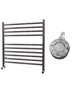Ascot - Stainless Steel Electric Towel Rail H600mm x W600mm Straight 300w Thermostatic