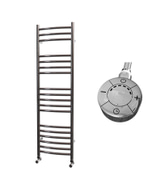 Ascot - Stainless Steel Electric Towel Rail H1200mm x W350mm Curved 600w Thermostatic