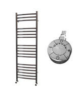 Ascot - Stainless Steel Electric Towel Rail H1200mm x W400mm Curved 600w Thermostatic