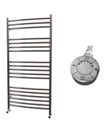 Ascot - Stainless Steel Electric Towel Rail H1200mm x W600mm Curved 600w Thermostatic