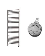 Ascot - Stainless Steel Electric Towel Rail H1400mm x W500mm Curved 600w Thermostatic