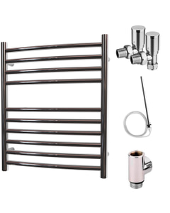 Ascot - Stainless Steel Dual Fuel Towel Rail H600mm x W500mm 300w Standard - Curved