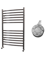 Ascot - Stainless Steel Electric Towel Rail H800mm x W500mm Curved 300w Thermostatic