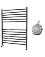 Ascot - Stainless Steel Electric Towel Rail H800mm x W600mm Curved 600w Thermostatic