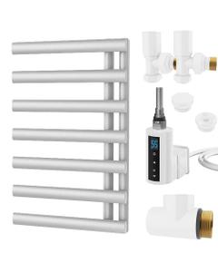 Elyan - White Dual Fuel Towel Rail H766mm x W500mm 300w Thermostatic WIFI - Elliptical Tube