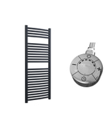Roma - Anthracite Electric Towel Rail H1230mm x W500mm Curved 600w Thermostatic