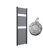 Roma - Anthracite Electric Towel Rail H1512mm x W500mm Curved 600w Thermostatic