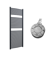 Roma - Anthracite Electric Towel Rail H1512mm x W600mm Curved 1000w Thermostatic