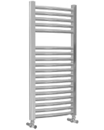 Roma - Chrome Heated Towel Rail - H842mm x W400mm - Curved