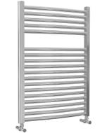Roma - Chrome Heated Towel Rail - H842mm x W600mm - Curved