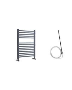 Todi - Anthracite Electric Towel Rail H690mm x W500mm Straight 400w Standard