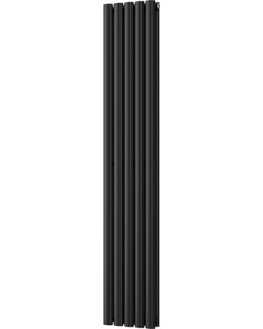 Omeara - Black Vertical Radiator H1600mm x W290mm Double Panel