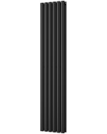 Omeara - Black Vertical Radiator H1600mm x W348mm Double Panel