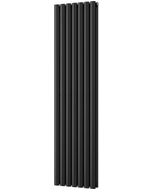 Omeara - Black Vertical Radiator H1600mm x W406mm Double Panel