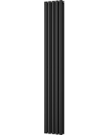 Omeara - Black Vertical Radiator H1800mm x W290mm Double Panel