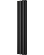 Omeara - Black Vertical Radiator H1800mm x W348mm Double Panel