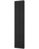 Omeara - Black Vertical Radiator H1800mm x W406mm Double Panel