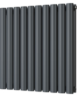 Omeara - Anthracite Horizontal Radiator H600mm x W580mm Double Panel
