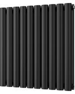 Omeara - Black Horizontal Radiator H600mm x W580mm Double Panel