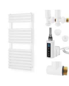 Omeara - White Dual Fuel Towel Rail H1120mm x W500mm 300w Thermostatic WIFI - Elliptical Tube