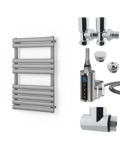 Omeara - Silver Dual Fuel Towel Rail H825mm x W500mm 300w Thermostatic WIFI - Elliptical Tube