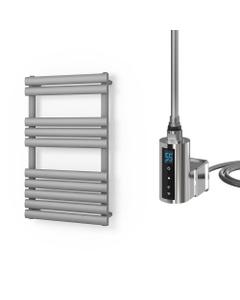 Omeara - Silver Electric Towel Rail H825mm x W500mm 300w Thermostatic WIFI
