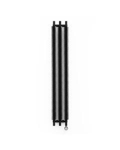 Ribbon Heban Black Vertical Electric Radiator H1800mm x W290mm 600w Thermostatic