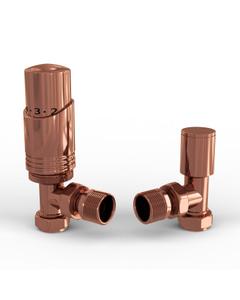 Talus Bold - Copper Thermostatic Radiator Valves Angled