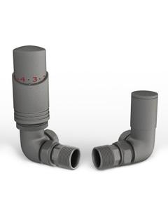 Talus Bold - Natural Pewter Thermostatic Radiator Valves Corner 8mm