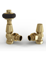 Signature Wooden Head - Polished Brass Thermostatic Radiator Valves Angled