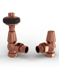 Signature Wooden Head - Copper Thermostatic Radiator Valves Angled