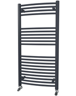 Zennor - Anthracite Heated Towel Rail - H1200mm x W600mm - Curved