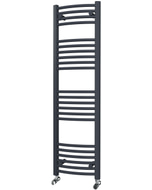 Zennor - Anthracite Heated Towel Rail - H1400mm x W400mm - Curved