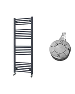 Zennor - Anthracite Electric Towel Rail H1400mm x W500mm Straight 600w Thermostatic