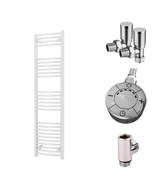 Zennor - White Dual Fuel Towel Rail H1600mm x W400mm 600w Thermostatic - Curved