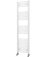 Zennor - White Heated Towel Rail - H1600mm x W400mm - Curved