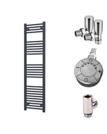 Zennor - Anthracite Dual Fuel Towel Rail  H1600mm x W400mm 600w Thermostatic - Straight