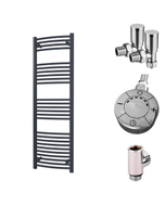 Zennor - Anthracite Dual Fuel Towel Rail  H1600mm x W500mm 600w Thermostatic - Curved