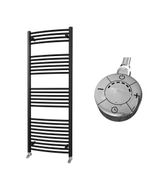 Zennor - Black Electric Towel Rail H1600mm x W600mm Curved 600w Thermostatic