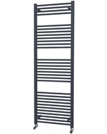 Zennor - Anthracite Heated Towel Rail - H1800mm x W600mm - Straight