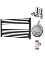 Zennor - Black Dual Fuel Towel Rail H600mm x W1000mm 300w Thermostatic - Curved