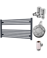 Zennor - Anthracite Dual Fuel Towel Rail  H600mm x W1000mm 300w Thermostatic - Straight