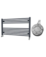 Zennor - Anthracite Electric Towel Rail H600mm x W1000mm Straight 300w Thermostatic