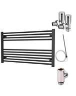 Zennor - Black Dual Fuel Towel Rail H600mm x W1000mm 300w Standard - Straight