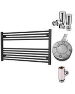 Zennor - Black Dual Fuel Towel Rail H600mm x W1000mm 300w Thermostatic - Straight