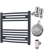Zennor - Anthracite Dual Fuel Towel Rail  H600mm x W600mm 300w Thermostatic - Curved