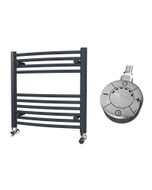 Zennor - Anthracite Electric Towel Rail H600mm x W600mm Curved 300w Thermostatic
