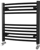 Zennor - Black Heated Towel Rail - H600mm x W600mm - Curved