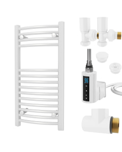 Zennor - White Dual Fuel Towel Rail H800mm x W400mm 300w Thermostatic WIFI - Curved
